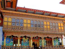 Punakha Dzong, Bhutan. The Punakha Dzong, also known as Pungtang Dewa chhenbi Phodrang meaning `the palace of great happiness or bliss`, is the administrative royalty free stock photo