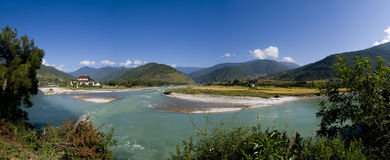 Punakha Dzong And The Mo Chhu River In Bhutan Stock Images