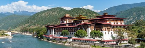 Punakha Dzong - Bhutan. Panoramic view of Punakha Dzong Fortress known as the Queen of Dzongs royalty free stock photography