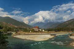Punakha Dzong monaster w Bhutan zdjęcie stock