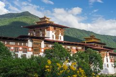 Punakha Dzong, old monastery and Landmark of Bhutan. Asia royalty free stock photos