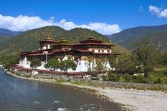 Punakha kloster i Bhutan Asien Royaltyfria Bilder