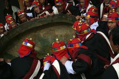 Punakha Tsechu. And tomorrow we will fill the tub with the powerful  magical rice-wine Stock Photo