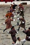 Punakha Tsechu, Krieg-Tanz Stockfotografie