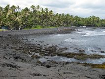Punalu'u czerni piaska plaża Obrazy Royalty Free
