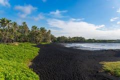 Punaluu染黑沙子海滩,大岛,夏威夷 图库摄影