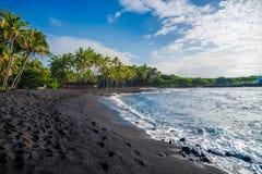 Punaluu black sand beach, Big Island, Hawaii. USA Stock Images