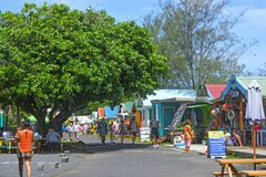 Punanga Nui Market Rarotonga Cook Islands. Visitors at Punanga Nui Market in Avarua town, Cook Islands.Its one of the highly regarded traditional markets in the Stock Photo