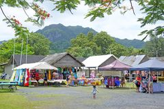 Punanga Nui Market Rarotonga Cook Islands. Visitors at Punanga Nui Market in Avarua town, Cook Islands.It`s one of the highly regarded traditional markets in the Royalty Free Stock Photography