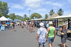 Punanga Nui Market Rarotonga Cook Islands. Visitors at Punanga Nui Market in Avarua town, Cook Islands.It`s one of the highly regarded traditional markets in the Royalty Free Stock Photos
