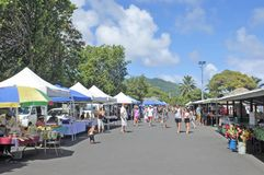 Punanga Nui Market Rarotonga Cook Islands. Visitors at Punanga Nui Market in Avarua town, Cook Islands.It`s one of the highly regarded traditional markets in the Stock Photo