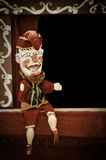 Punch. Traditional punch puppet offering on stage copy-space royalty free stock image