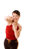 Punch it. Happy fist punch from a woman Royalty Free Stock Images