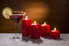 Punch with advent candles and snow Royalty Free Stock Photos