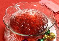 Punch Bowl. Red or Pink punch in glass bowl - colorful and refreshing beverage Stock Image