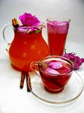 Punch cocktail tea drink with wild rose Stock Photos