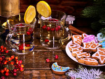 Punch drink with Christmas gingerbread cookie. Royalty Free Stock Photo