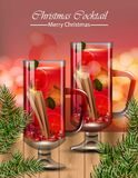 Punch drink glasses. Winter Christmas cocktails Vector realistic. Illustration Stock Photo