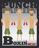 Punch Family. Portrait - Three generations of fighters lined up.  Typography stylized Boxing text below the art. EPS 10 Vector Royalty Free Stock Photos