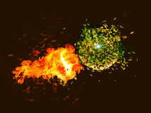 Punch with fire. Punch in fire against planet Stock Image