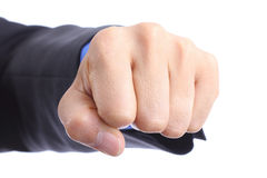 Punch fist determination of solving problem. With white background Royalty Free Stock Images