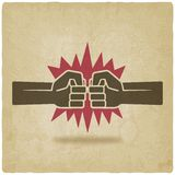 Punch fists fight symbol old background Royalty Free Stock Photography