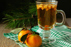 Punch with fruits and two tangerines horizontal Royalty Free Stock Images