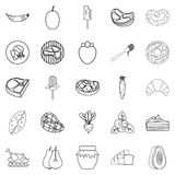 Punch icons set, outline style. Punch icons set. Outline set of 25 punch vector icons for web isolated on white background Stock Photo