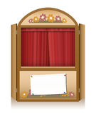 Punch and Judy Booth Brown Closed Curtain. Wooden punch and judy booth with closed red curtain and a blank staging announcement banner, that can individually be Stock Photo