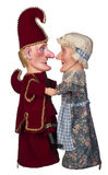 Punch & Judy Love. Punch and Judy look into each others eyes isolated on white background royalty free stock photo