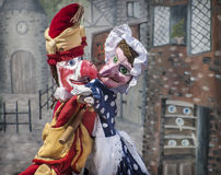 Punch And Judy. Traditional British seaside puppet show featuring Punch and Judy in embrace or fight Royalty Free Stock Photos