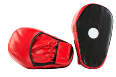 Punch mitts for boxing, red. Punch mitts isolated on white background for boxing, red Royalty Free Stock Photos