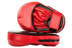 Punch mitts for boxing, red. Punch mitts isolated on white background for boxing, red Royalty Free Stock Photography