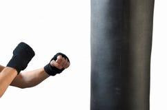 Box training. Punching in to the boxing bag. training box Stock Image