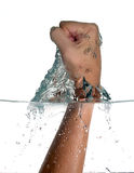 Punch Trespassing Water. Hitting the water. Fist slapping the water, trespassing water Stock Photography