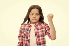 Punch you in your face. Stop bullying movement. Girl threatening with fist. Threatening physical attack. Kids aggression royalty free stock photos