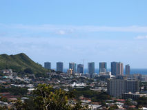 Punchbowl Crater and Honolulu Cityscape Stock Images