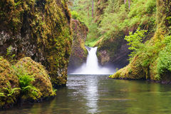 Punchbowl Falls. On Eagle Creek near Portland Oregon roars with life due to spring runoff Stock Image