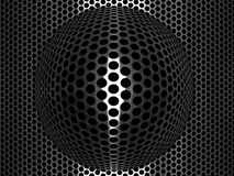 Punched metal grid with convex spherical element. Punched metal grid with rows of circular holes and central highlighted convex spherical element also punched Royalty Free Stock Photos