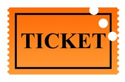 Punched Ticket. Orange serrated punched ticket isolated on white background Stock Image