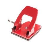 Puncher de agujero rojo de la oficina Imagenes de archivo