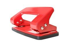 Puncher de agujero rojo del papel de la oficina Imagenes de archivo