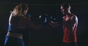Punching αθλητών γυναικών ικανότητας εγκιβωτίζοντας γάντια πυγμαχίας εστίασης που απολαμβάνουν τον έντονο εκπαιδευτικό φίλο μαχητ απόθεμα βίντεο