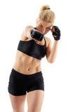 Punching μαχητών γυναικών MMA στοκ φωτογραφία με δικαίωμα ελεύθερης χρήσης