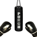 Punching bag and boxing gloves Stock Image