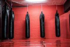Punching bags in red boxing area Royalty Free Stock Photos