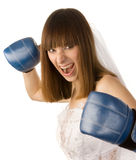 Punching bride. Stock Images