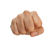 Punching fist with clipping path. A punch by the fist against a white background. Clipping path included for easy extraction Stock Images