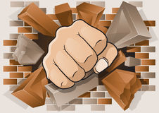 Punching Fist through Exploding Brick Wall. Explosive and Dynamic illustration of a Cartoon Punching Fist smashing through a Concrete and Brick Wall Royalty Free Stock Image