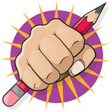 Punching Fist with Pencil. Stock Photography